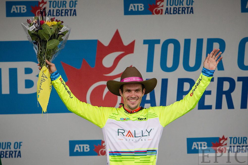 SPRUCE GROVE, ALBERTA, CAN - September 2: Evan Huffman (Rally Cycling) holds onto the yellow jersey after stage 2 of the Tour of Alberta on September 2, 2017 in Spruce Grove, Canada. (Photo by Jonathan Devich)