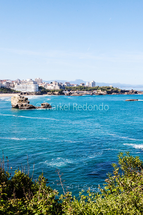 The Grande Plage seen from the lighthouse of Biarritz, France.