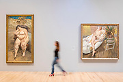 UNITED KINGDOM, London: 26 February 2018 <br /> A visitor walks past Lucian Freud's 'Sleeping by the Lion Carpet' 1996 (left) and 'David and Eli' 2003-4 (right) at The Tate Britain this morning. The painting forms part of Tate Britain's landmark exhibition entitled 'All Too Human: Bacon, Freud and a Century of Painting Life' which celebrates the intense experience of life captured with paint. <br /> The exhibition runs from 28 February - 27 August 2018.<br /> Photograph: Rick Findler