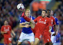 LIVERPOOL, ENGLAND - Wednesday, September 23, 2015: Liverpool's Danny Ings in action during the Football League Cup 3rd Round match against Carlisle United at Anfield. (Pic by David Rawcliffe/Propaganda)