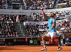 ROME, May 20, 2019  Rafael Nadal of Spain serves during the men's singles final match against Novak Djokovic of Serbia at the Italian Open Tennis tournament in Rome, Italy, May 19, 2019. Rafael Nadal won 2-1. (Credit Image: © Alberto Lingria/Xinhua via ZUMA Wire)