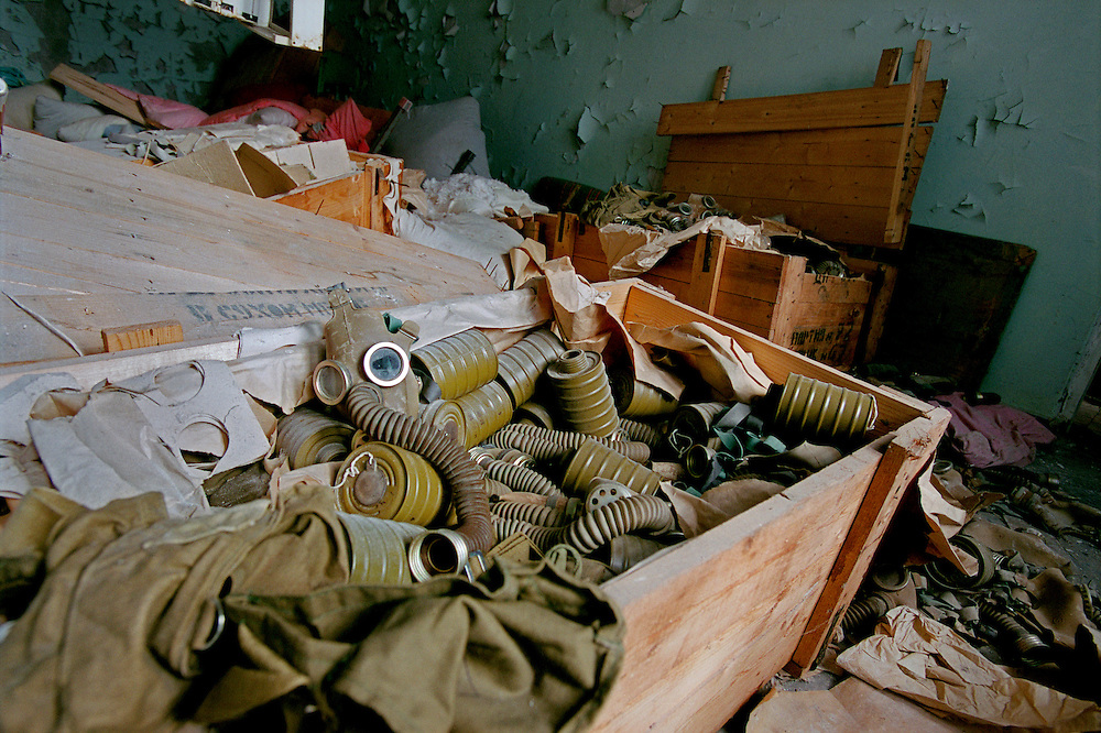 Ukraine 2001...The town of Prypiat close to the power plant. This used to be the city were all the workers in Chernobyl lived. After the accident it was evacuated...A room full of unused gasmasks in a room in a former school...Photo: Markus Marcetic/MOMENT