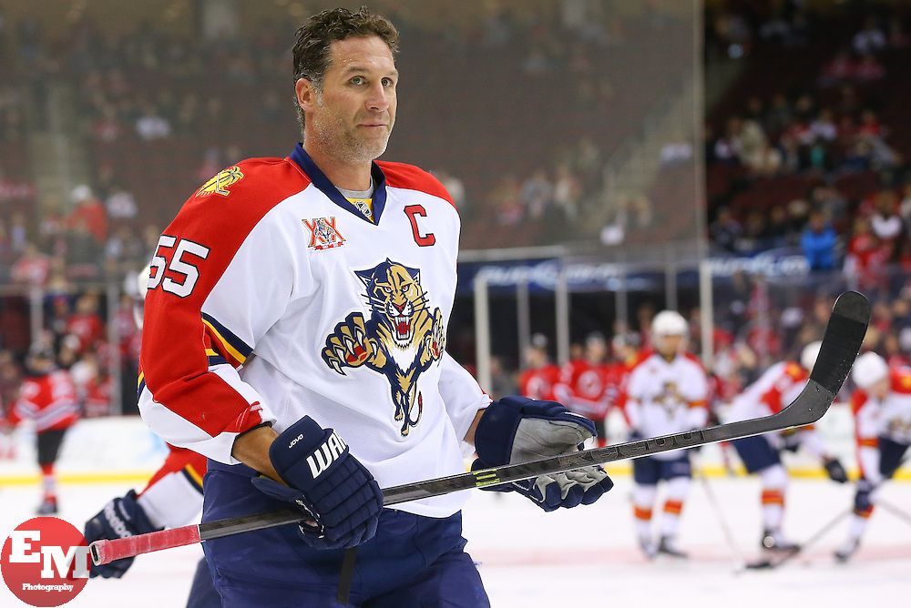 Mar 31, 2014; Newark, NJ, USA; Florida Panthers defenseman Ed Jovanovski (55) during the pre game warmups for their game against the New Jersey Devils at Prudential Center.