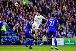 Jack Cork of Burnley contends for the aerial ball with Souleymane Bamba of Cardiff City - Mandatory by-line: Ryan Hiscott/JMP - 30/09/2018 -  FOOTBALL - Cardiff City Stadium - Cardiff, Wales -  Cardiff City v Burnley - Premier League