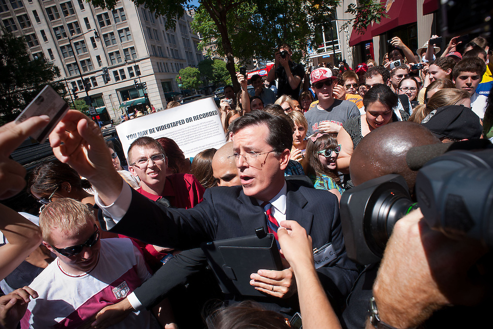 Comedian Stephen Colbert celebrates his SuperPAC outside Federal Election Commission headquarters on Thursday, June 30, 2011 in Washington.