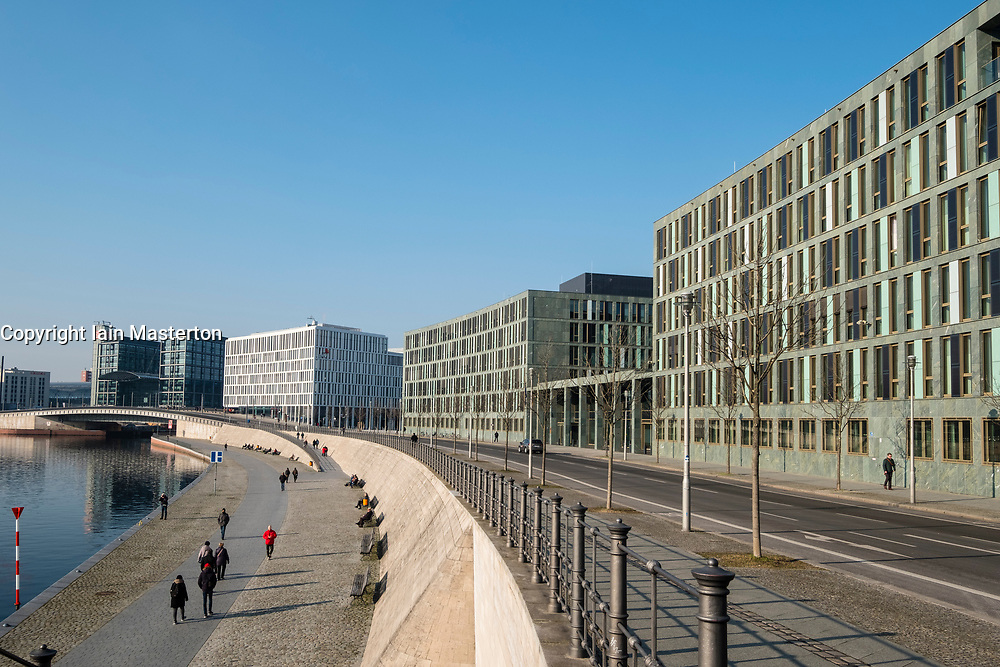 View of Federal Ministry of Education and Research (Bundesministerium für Bildung und Forschung) on Kapelle Ufer beside River Spree in Mitte district of Berlin, Germany