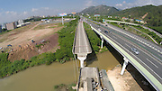 HEYUAN, CHINA - JUNE 19: (CHINA OUT) <br /> <br /> Highway Collapsed In Heyuan Caused 1 Dead 4 Injured<br /> <br /> An aerial view of the collapsed Guangdong-Jiangxi Highway at Heyuan section is seen on June 19, 2015 in Heyuan, Guangdong Province of China. The collapse happened at 3 a.m. on Friday and made 4 heavy-duty freight cars crash under the bridge which caused 1 dead and 4 injured, local media reported. The cause of the accident is under investigation.<br /> ©Exclusivepix Media