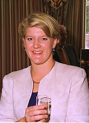 TV presenter CLARE BALDING, at a luncheon in Berkshire on 25th September 1998.MKH 29 wo