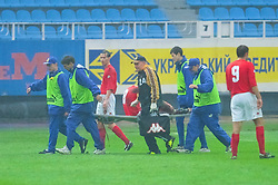 KIEV, UKRAINE - Tuesday, June 5, 2001: Wales' Neil Gibson is carried off injured during the Under-21 World Cup Qualifying match against Ukraine at the Dynamo Stadium. (Pic by David Rawcliffe/Propaganda)