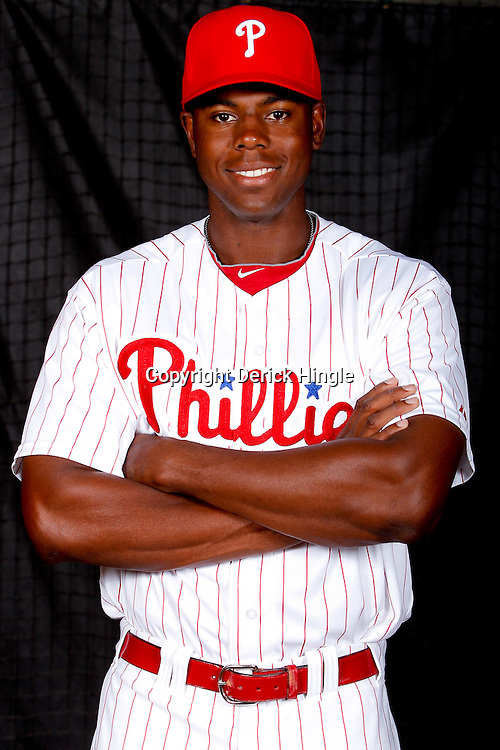 February 22, 2011; Clearwater, FL, USA; Philadelphia Phillies outfielder John Mayberry (15) poses during photo day at Bright House Networks Field. Mandatory Credit: Derick E. Hingle