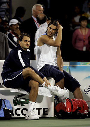 Roger Federer and Nadal Rafal at Dubai Tennis Championships.