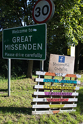 Great Missenden, UK. 17th July, 2020. A sign close to the Stop HS2 Great Missenden roadside camp. Environmental activists from groups including Stop HS2 and HS2 Rebellion continue to protest against the HS2 high-speed rail link, which is currently projected to cost £106bn and which will remain a net contributor to CO2 emissions during its projected 120-year lifespan, on environmental and economic grounds.