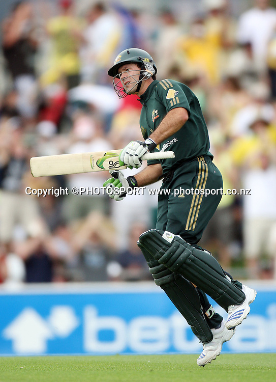 Australian captain Ricky Ponting celebrates his century innings.  Chappell Hadlee Trophy - Match 3. Bellerive Oval, Hobart, Australia. <br />