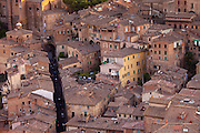 Aerial view of Siena from Il Torre, clock tower, in Piazza del Campo, Siena, Italy