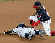 October 6, 2017 - Cleveland, OH, USA - Cleveland Indians shortstop Francisco Lindor, right, tags out the New York Yankees Roland Torreyes on a pickoff by catcher Yan Gomes in the 11th inning during Game 2 of the American League Division Series, Friday, Oct. 6, 2017, at Progressive Field in Cleveland. (Credit Image: © Mike Cardew/TNS via ZUMA Wire)