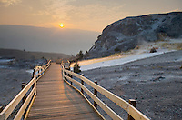 Boardwalk through Mammoth Hot Springs at sunrise, Yellowstone National Park