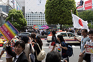 Participants take part in the Tokyo Rainbow Pride parade in Tokyo. Thousands of lesbians, gays, bisexuals, transgenders (LGBT) and their supporters participated in the parade on Sunday to celebrate LGBT lifestyle and denounce prejudice and discrimination against sexual minorities. Amnesty International Japan released a proposal Tuesday May 2, 2017 to the government on measures that the country must take to tackle discrimination against LGBT people: hiding one's sexual orientation or gender identity is still common, due to a fear of losing one's job or facing discrimination, both in the public and the private sector. On health, they asked the government to remove gender identity from the classification of mental diseases, to abolish inappropriate requirements for obtaining legal gender recognition, to educate medical experts, and to set certain health treatments required by transgender people to be covered by the national health insurance and public health systems. 07/05/2017-Tokyo, JAPAN