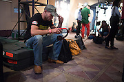 """Donald """"Cowboy"""" Cerrone sits backstage before the official UFC 187 weigh-in event at the MGM Grand in Las Vegas, Nevada on May 22, 2015. (Cooper Neill)"""