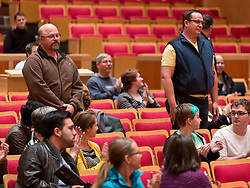 Veterans stand during the playing of the their service song at the Veterans Day at PLU on Wednesday, Nov. 11, 2015. (Photo/John Froschauer)