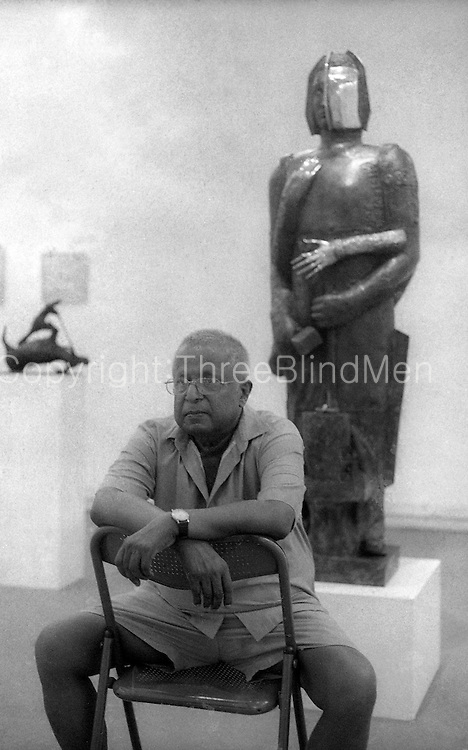 Tissa Ranasinghe, sculptor, at an exhibition of his work at the Lionel Wendt art gallery in Colombo..March 1999.