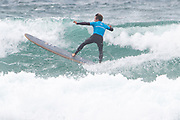 Benoit Carpentier climbs the wave during the Boardmasters Longboard Pro at Fistral Beach, Newquay, Cornwall, United Kingdom on 10 August 2019.