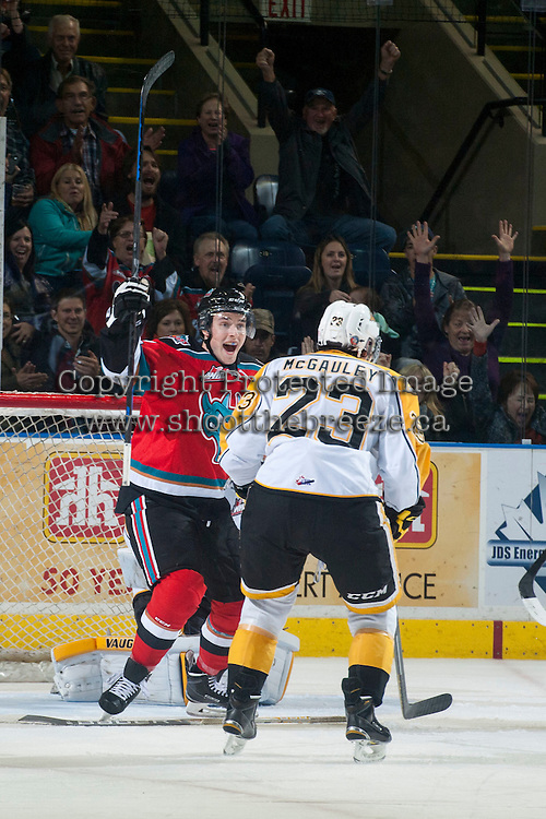 KELOWNA, CANADA - OCTOBER 25: Jesse Lees #2 of Kelowna Rockets celebrates a goal against the Brandon Wheat Kings on October 25, 2014 at Prospera Place in Kelowna, British Columbia, Canada.  (Photo by Marissa Baecker/Shoot the Breeze)  *** Local Caption *** Jesse Lees;