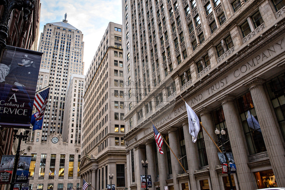 Chicago Board of Trade building and the City National Bank and Trust Company from Lasalle Street Chicago, IL.