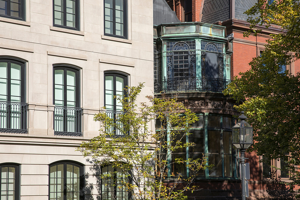 Belle Epoque style architecture of buildings along Commonwealth Avenue Mall in Boston, USA