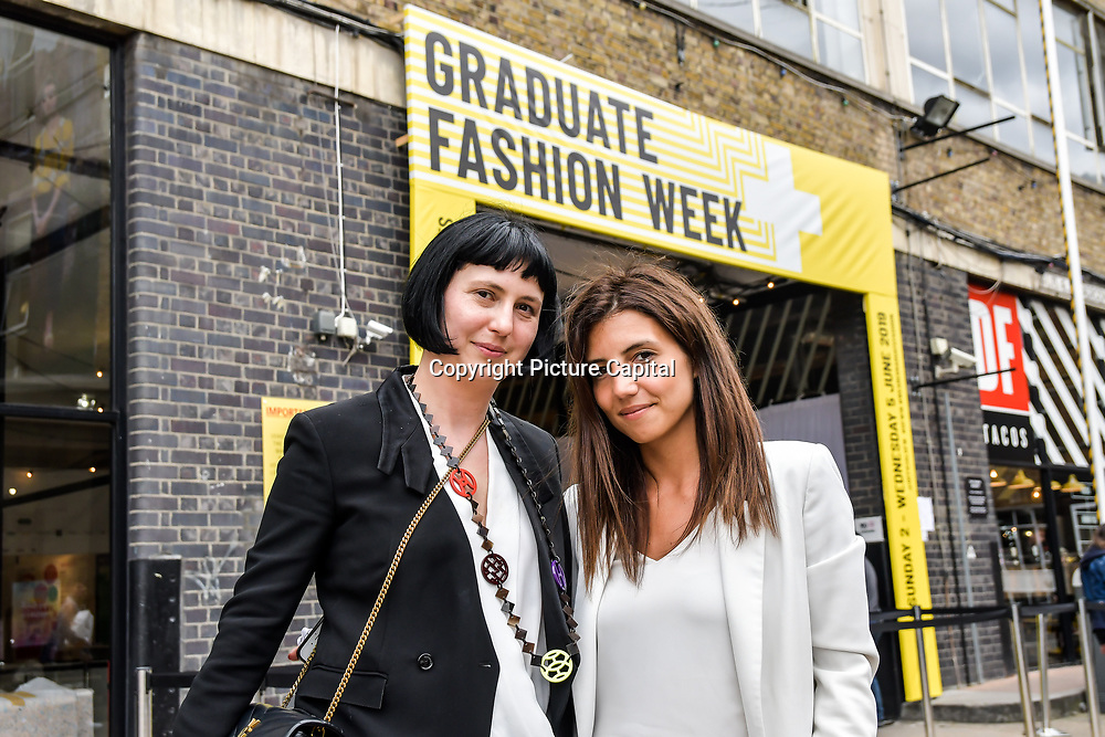 Biljana Roberts is a GFW organise and her teams International Fashion Award Show - Fashion Show showcases at Graduate Fashion Week 2019 - Final Day, on 5 June 2019, Old Truman Brewery, London, UK.