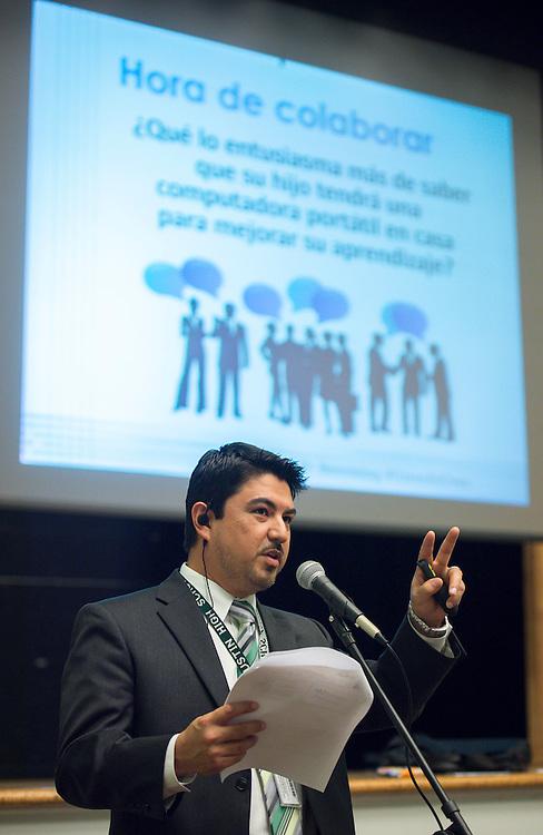 Principal Jorge Arredondo comments during a Spanish language session PowerUp parent meeting at Austin High School, November 7, 2013.