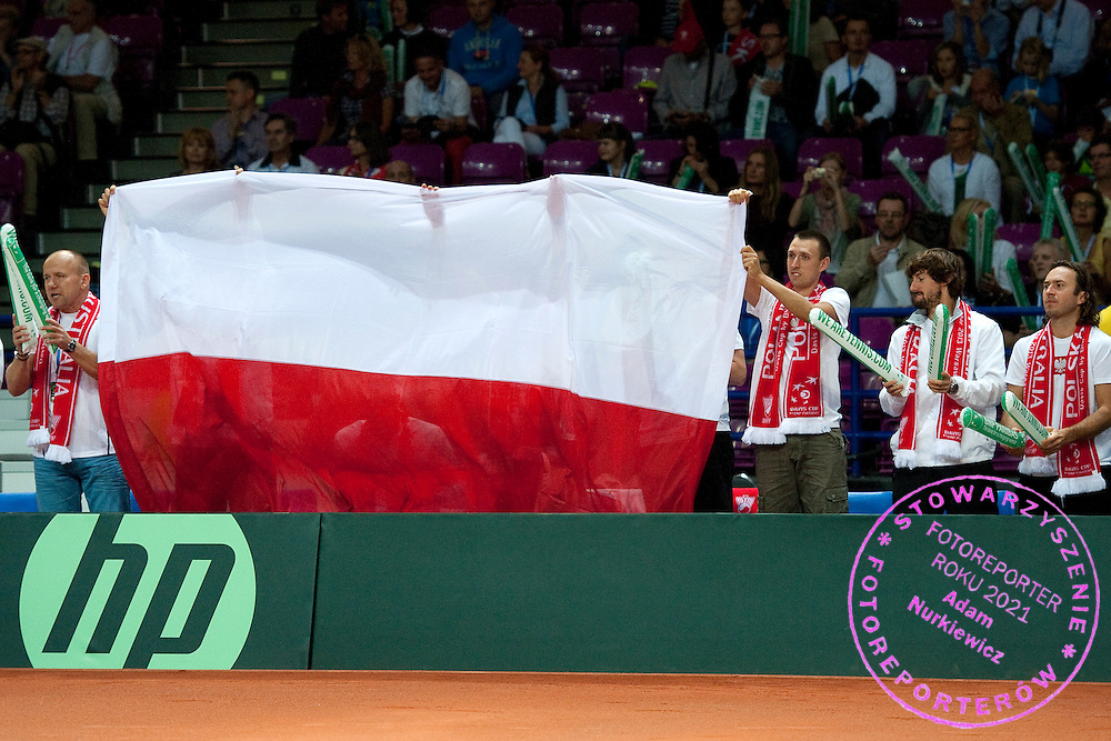Polish bench support Lukasz Kubot during the BNP Paribas Davis Cup 2013 between Poland and Australia at Torwar Hall in Warsaw on September 15, 2013.<br /> <br /> Poland, Warsaw, September 15, 2013<br /> <br /> Picture also available in RAW (NEF) or TIFF format on special request.<br /> <br /> For editorial use only. Any commercial or promotional use requires permission.<br /> <br /> Photo by © Adam Nurkiewicz / Mediasport