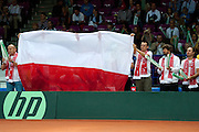 Polish bench support Lukasz Kubot during the BNP Paribas Davis Cup 2013 between Poland and Australia at Torwar Hall in Warsaw on September 15, 2013.<br /> <br /> Poland, Warsaw, September 15, 2013<br /> <br /> Picture also available in RAW (NEF) or TIFF format on special request.<br /> <br /> For editorial use only. Any commercial or promotional use requires permission.<br /> <br /> Photo by &copy; Adam Nurkiewicz / Mediasport