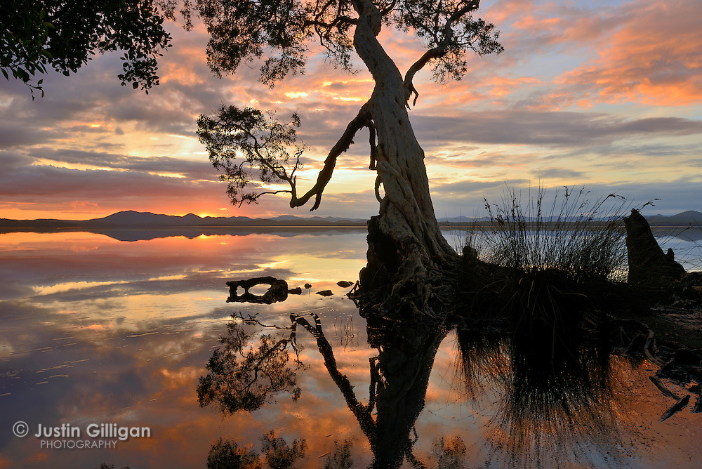 Sunset over the Myall Lakes, north of Port Stephens, New South Wales, Australia.
