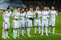 Real Madrid´s Cristiano Ronaldo poses with his 2014 FIFA Golden Ball and Toni Kroos, Sergio Ramos and James Rodriguez with their FIFA awards during Spanish King´s Cup match at Santiago Bernabeu stadium in Madrid, Spain. January 15, 2015. (ALTERPHOTOS/Victor Blanco)