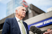 UNITED KINGDOM, London: 22 May 2019 <br /> Leader of the Liberal Democratics Vince Cable speaks with media outside Archway Station, North London as part of the party's final push ahead of the European election campaign. Vince Cable joined activists for a rally speech and leafleting in Jeremy Corbyn's own constituency.<br /> Rick Findler / Story Picture Agency