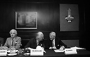 07/11/1982<br /> 11/07/1982<br /> 07 November 1982<br /> Fitzwilton Limited, Annual General Meeting at the Berkeley Court Hotel, Dublin. Picture shows (l-r): Sir Basil Goulding, Director and The Lord Killanin, Director and M.E. Dockrell at the meeting.