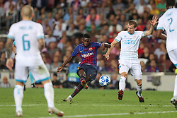 September 18, 2018 - Barcelona, Catalonia, Spain - Ousmane Dembele of FC Barcelona kicks the ball to score his side's second goal during the UEFA Champions League, Group B football match between FC Barcelona and PSV Eindhoven on September 18, 2018 at Camp Nou stadium in Barcelona, Spain (Credit Image: © Manuel Blondeau via ZUMA Wire)