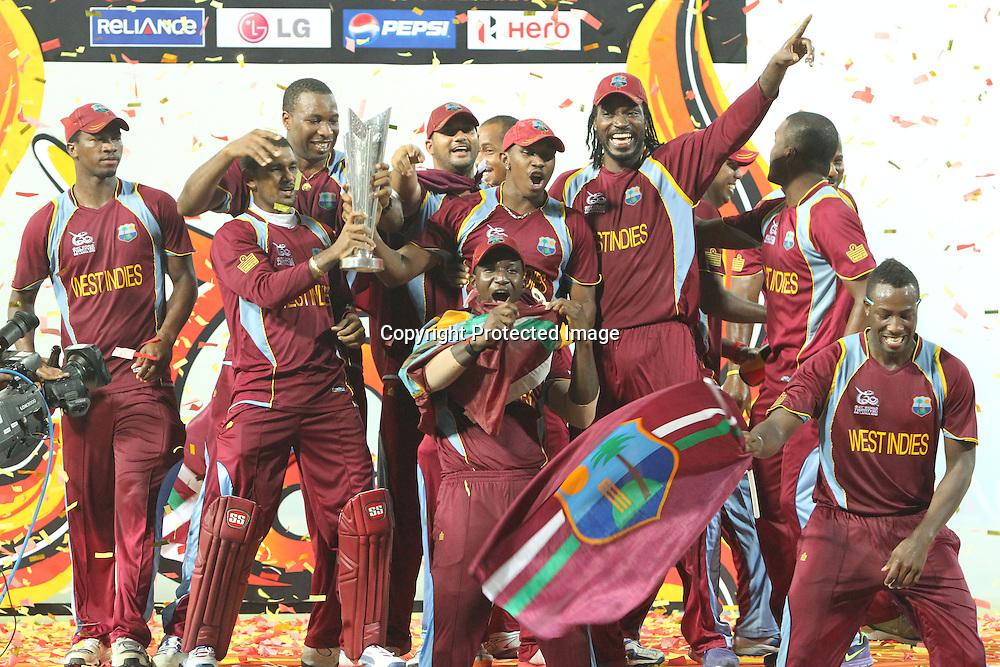West Indies cricketers celebrate winning the ICC World Twenty20 2012 Final  during the ICC World Twenty20 final between Sri Lanka and the West Indies held at the Premadasa Stadium in Colombo, Sri Lanka on the 7th October 2012.<br /> <br /> Photo by Sanka vidanagama/SPORTZPICS/PHOTOSPORT