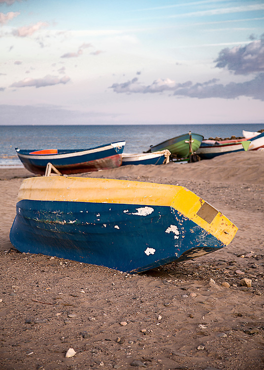 A fishing boat on a beach in Gran Canaria, Spain