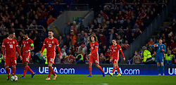 CARDIFF, WALES - Friday, November 16, 2018: Wales' Ethan Ampadu (L) and Connor Roberts look dejected as Denmark score the second goal during the UEFA Nations League Group Stage League B Group 4 match between Wales and Denmark at the Cardiff City Stadium. Wales lost 2-1. (Pic by David Rawcliffe/Propaganda)