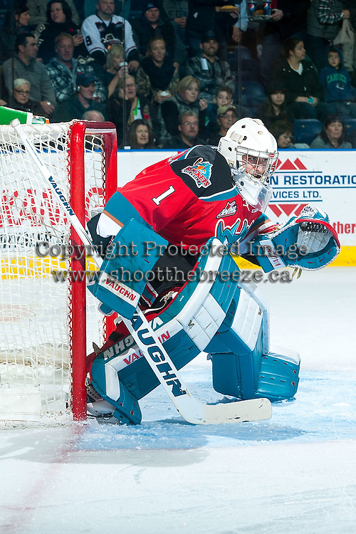 KELOWNA, CANADA - NOVEMBER 11: Jackson Whistle #1 of Kelowna Rockets defends the net against the Vancouver Giants on November 11, 2015 at Prospera Place in Kelowna, British Columbia, Canada.  (Photo by Marissa Baecker/ShoottheBreeze)  *** Local Caption *** Jackson Whistle;