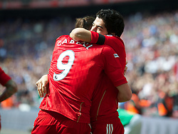 LONDON, ENGLAND - Saturday, April 14, 2012: Liverpool's Luis Alberto Suarez Diaz celebrates scoring the first goal against Everton, equalising the scores at 1-1, during the FA Cup Semi-Final match at Wembley. (Pic by David Rawcliffe/Propaganda)