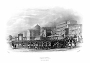 British troops parading on the Esplanade, Calcutta, India. Mid-19th century steel engraving.