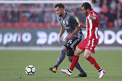 October 22, 2017 - Porto, Aves, Portugal - Benfica's Switzerland forward Haris Seferovic (L) with Aves´s player Gonzalo Santos (R) during the Premier League 2017/18 match between CD Aves and SL Benfica, at Estadio do Clube Desportivo das Aves in Aves on October 22, 2017. (Credit Image: © Dpi/NurPhoto via ZUMA Press)