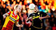 DEVENTER - Roda JC is op de slotdag gedegradeerd uit de eredivisie. De Limburgse ploeg won zaterdag met 1-0 bij Go Ahead Eagles. Concurrent NEC stelde echter bij kampioen Ajax een kapitaal punt veilig (2-2). Daardoor bleef Roda JC laatste, met 1 punt minder dan NEC. COPYRIGHT ROBIN UTRECHT