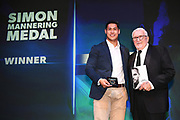 Roger Tuivasa-Sheck wins the Simon Mannering medal presented by Sir Peter Leitch at the 2019 Vodafone Warriors awards. Sky City, Auckand. Tuesday  24 September 2019. © Copyright photo: Andrew Cornaga / www.Photosport.nz