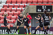 Bristol City Forward Ebony Salmon (9) scores a goal 0-1 and celebrates during the FA Women's Super League match between Manchester United Women and Bristol City Women at Leigh Sports Village, Leigh, United Kingdom on 5 January 2020.