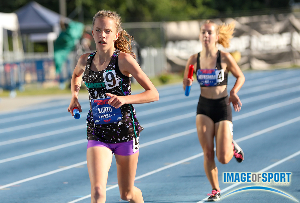 Kinetic TC-NY won the Girls 4x Mile Relay Championship in a time of 20:31.67 during the New Balance Outdoor Nationals, Sunday, June 16, 2019, in Greensboro, NC. (Brian Villanueva/Image of Sport)