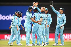 England celebrate the wicket of South Africa's Kagiso Rabada during the ICC Cricket World Cup group stage match at The Oval, London.