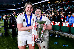Poppy Cleall and Hannah Botterman of England Women England Women celebrate winning the Women's Six Nations and Grand Slam - Mandatory by-line: Robbie Stephenson/JMP - 16/03/2019 - RUGBY - Twickenham Stadium - London, England - England Women v Scotland Women - Women's Six Nations